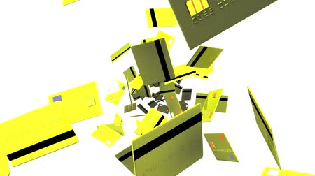 expenditure : Yellow Credit cards on white background.Loop able 3D render animation.