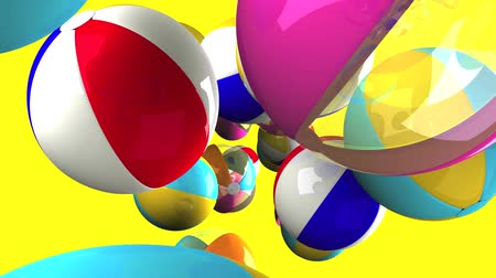 eleven : Colorful beach balls on yellow background.3D render animation. Stock mozgókép