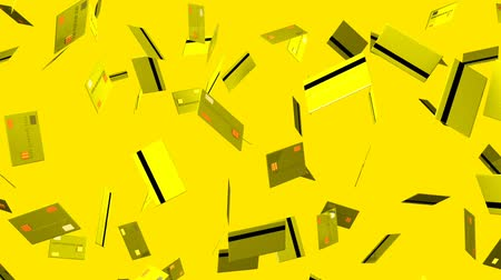 expenditure : Yellow Credit cards on yellow background.Loop able 3D render animation.