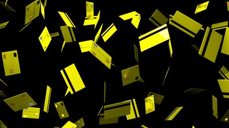 expenditure : Yellow Credit cards on black background.Loop able 3D render animation.