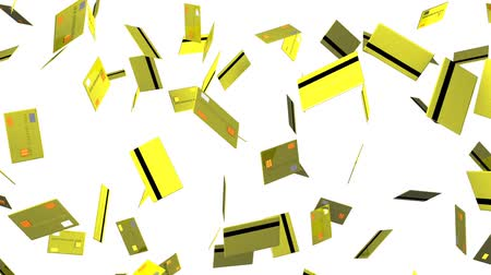 megelőzés : Yellow Credit cards on white background.Loop able 3D render animation.