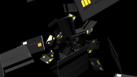 výdaj : Black Credit cards on black background.Loop able 3D render animation.