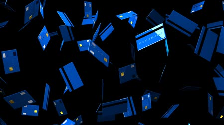 expenditure : Blue Credit cards on black background.Loop able 3D render animation.