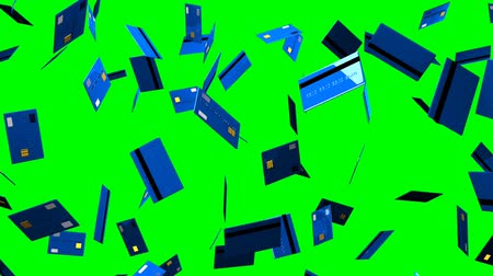 expenditure : Blue Credit cards on green chroma key.Loop able 3D render animation.