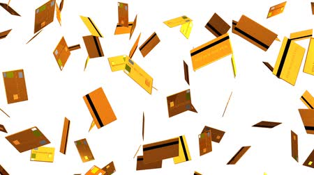 expenditure : Gold Credit cards on white background.Loop able 3D render animation.