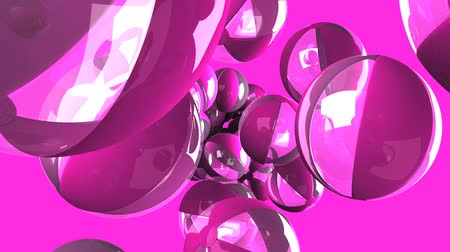 meridional : Beach balls on pink background.Loop able 3D render animation.