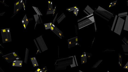 expenditure : Black Credit cards on black background.Loop able 3D render animation.