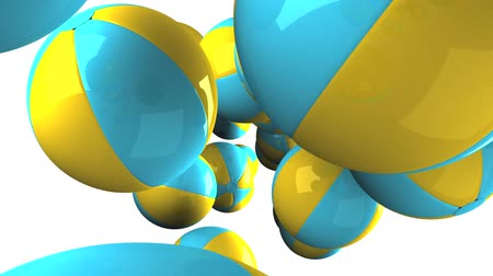 eleven : Colorful beach balls on white background.3D render animation.