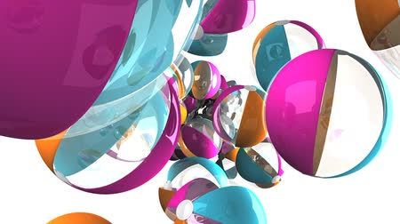 sürekli : Colorful beach balls on white background.Loop able 3D render animation.