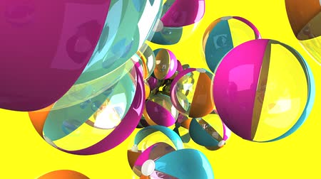 élénk : Colorful beach balls on yellow background.Loop able 3D render animation.