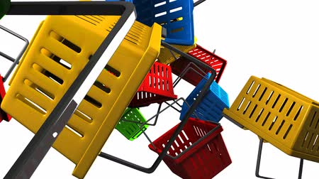 торг : Shopping baskets on white background Стоковые видеозаписи