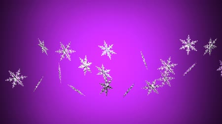 folyamatos : Clear snow crystals on purple backgorund.Loop able 3D render animation.