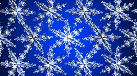 Clear snow crystals on blue background.Loop able 3D render animation. Vídeos