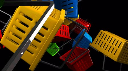 barganha : Shopping baskets on black background