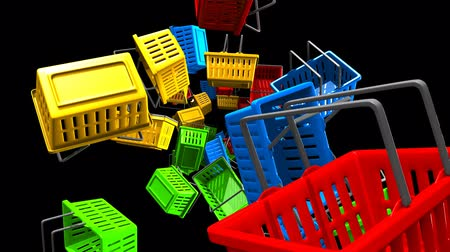 Shopping baskets on black background.Loop able 3D render animation.