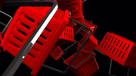 barganha : Red Shopping baskets on black background