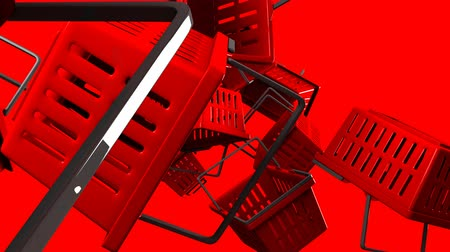 alku : Red Shopping baskets on red background