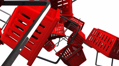 торг : Red Shopping baskets on white background Стоковые видеозаписи