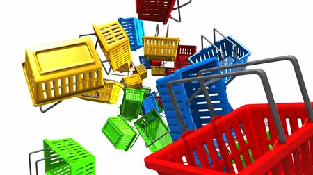 торг : Shopping baskets on white background.Loop able 3D render animation. Стоковые видеозаписи