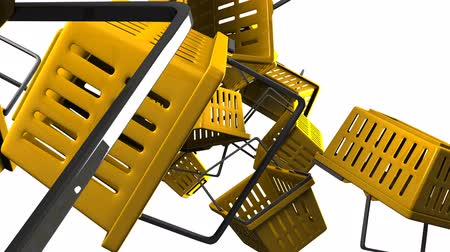 barganha : Yellow shopping baskets on white background
