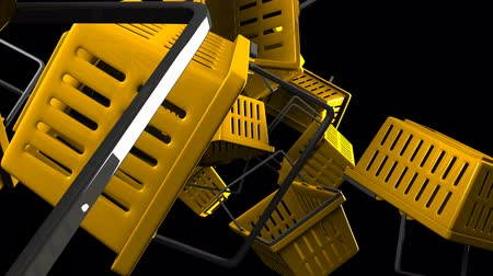 barganha : Yellow shopping baskets on black background