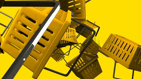 barganha : Yellow shopping baskets on yellow background