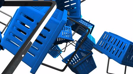 alku : Blue Shopping baskets on white background
