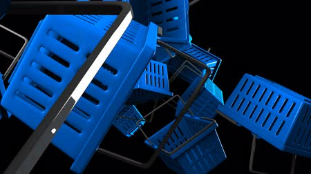 barganha : Blue Shopping baskets on black background