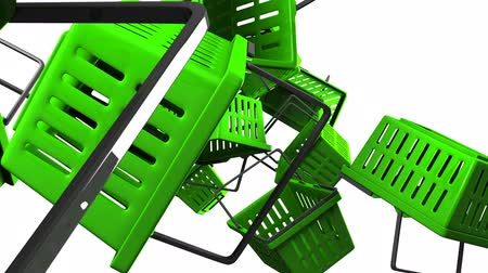 alku : Green Shopping baskets on white background