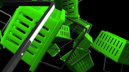 alku : Green Shopping baskets on black background