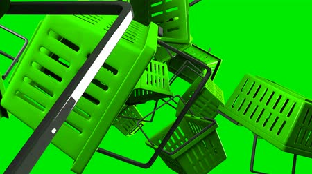 Green Shopping baskets on green background