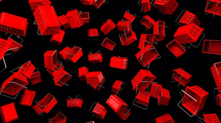 торг : Red Shopping baskets on black background.Loop able 3D render animation. Стоковые видеозаписи