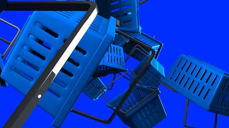 Blue Shopping baskets on blue background