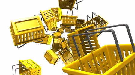 торг : Yellow shopping baskets on white background.Loop able 3D render animation. Стоковые видеозаписи