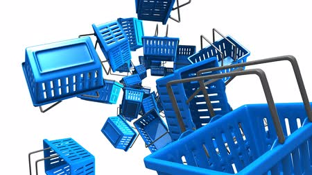 Blue Shopping baskets on white background.Loop able 3D render animation.