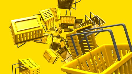 торг : Yellow shopping baskets on yellow background.Loop able 3D render animation. Стоковые видеозаписи