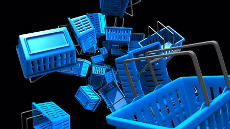 Blue Shopping baskets on black background.Loop able 3D render animation. Stockvideo