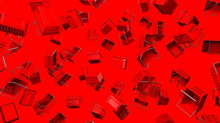 barganha : Red Shopping baskets on red background.Loop able 3D render animation.