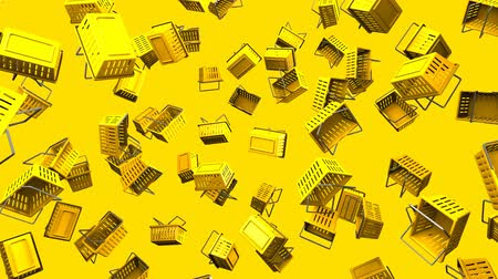alku : Yellow shopping baskets on yellow background.Loop able 3D render animation. Stock mozgókép