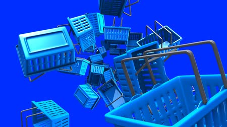 торг : Blue Shopping baskets on blue background.Loop able 3D render animation.