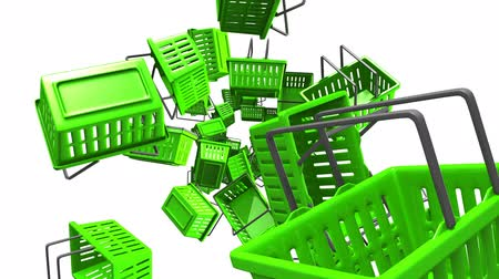 Green Shopping baskets on white background.Loop able 3D render animation.