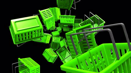 barganha : Green Shopping baskets on black background.Loop able 3D render animation.