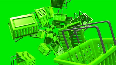 Green Shopping baskets on green background.Loop able 3D render animation.