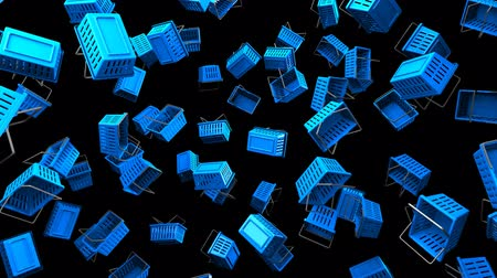 торг : Blue Shopping baskets on black background.Loop able 3D render animation. Стоковые видеозаписи