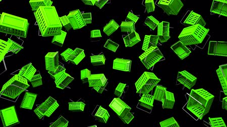 торг : Green Shopping baskets on black background.Loop able 3D render animation.