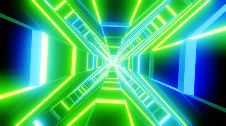Green blue cross shape tunnel abstract animation.  loopable Sci-fi abstract backdrop.