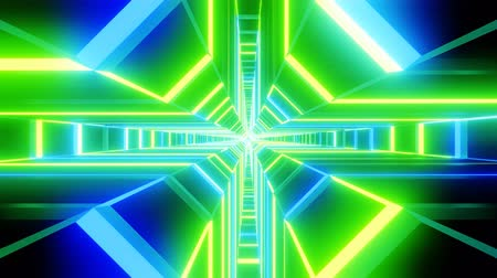 berrante : Green blue cross shape tunnel abstract animation.  loopable Sci-fi abstract backdrop.