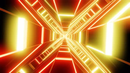 Red orange cross shape tunnel abstract animation.  loopable Sci-fi abstract backdrop. Vídeos