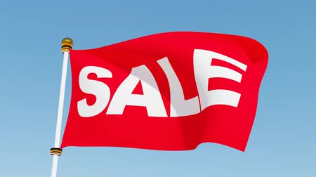 barganha : Red sale flag waving in the wind. Stock Footage