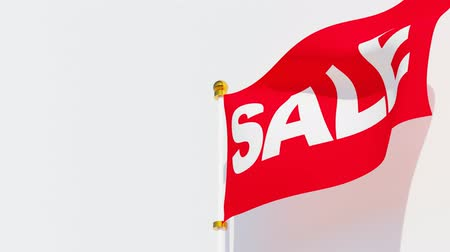 торг : Red sale flag waving in the wind. Стоковые видеозаписи